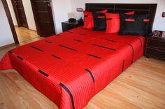 Prehoz cez posteľ červenej farby s pruhmi Bed, Furniture, Home Decor, Decoration Home, Stream Bed, Room Decor, Home Furnishings, Beds, Home Interior Design