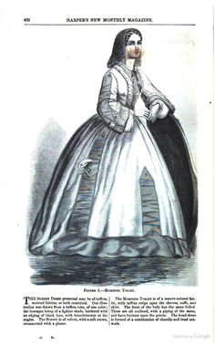 1864, Harper's New Monthly Magazine. Morning Toilet. Dress of mauve fabric with taffeta strips on sleeves and skirt, and fulled strips of the same on the body and cuffs, edged with piping of the same. Buttons on the points of the trim. Head-dress is a combination of chenille and bead network.