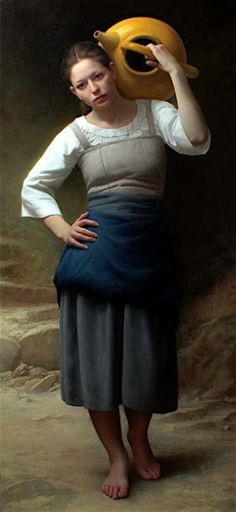 Jeune Femme Allant a la Fontaine - Joshua Larock Original Paintings For Sale, Cool Paintings, Realistic Paintings, Beautiful Paintings, Acrylic Wall Art, Vintage Artwork, Realism Art, Figure Painting, Figurative Art