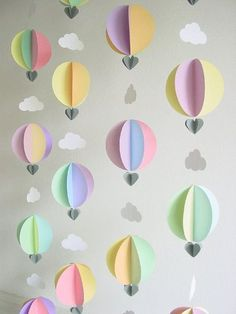 Hot Air Balloon Garland – Baby Shower Decorations – Travel theme baby shower – hot air balloon decorations – baby mobile – nursery decor Garland-Hot Air Balloons & by youngheartslove Balloon Clouds, Balloon Garland, Balloon Decorations, Balloon Party, Travel Decorations, Paper Clouds, Balloon Birthday, Balloon Ideas, Bany Shower Decorations