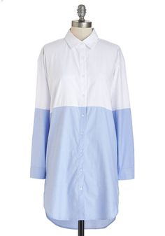 Half to Have It Tunic - Long, Woven, Blue, White, Work, Colorblocking, Long Sleeve, Collared, White, Blue, Long Sleeve, Buttons, Casual, Menswear Inspired
