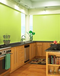 Zesty green vertical slats add a fresh and lively feel to kitchens.
