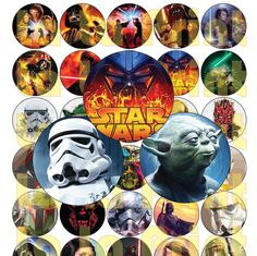 35 Star Wars Digital Party Stickers Circles size 1'' and 1.5''  sheet A4 (8.5''x11'') Bottle Cap images Cupcake Toppers Disney by LaLaPrint on Etsy