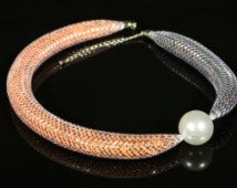 """Necklace """" Charm"""" – a silver mesh tube"""