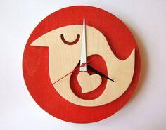 Red wooden bird clock - Wish