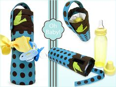 Cute AND practical shower gift -- insulated baby bottle carrier to keep bottle warm or chilled. Tutorial from Sew4Home.