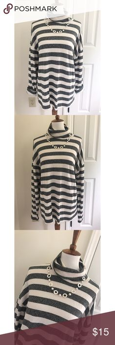 J. Crew Striped black label cowlneck sweater - Size L. Brand new condition with no flaws.  - I don't trade or sell outside of posh. - I ship every single day!  - All items come from a smoke free home!  - If you have anymore questions just let me know and I would be happy to help!  J. Crew Sweaters Cowl & Turtlenecks