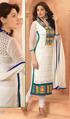 Bring out the ethnic best in you, dressed in this off white chiffon resham enhanced chudidar dress. Beautified with resham work all synchronized well with the trend and style of the dress. #NewPatternCasualSuit