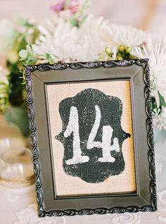 framed burlap table numbers | Amy Arrington #wedding