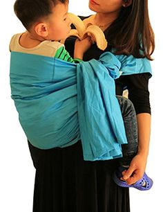 a856d7edbc3 Vlokup Baby Ring Sling Carrier for Newborn Original Adjustable Infant  Lightly Padded Wrap Breastfeeding Privacy 100% Cotton Lakeblue