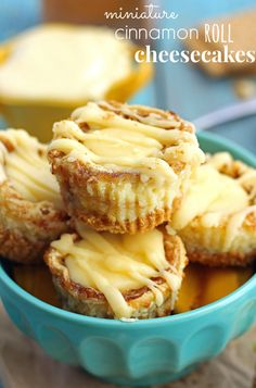 Miniature-sized Cheesecakes with a cinnamon-sugar swirl and a cream cheese topping. These mini desserts taste just like a cinnamon roll in a cheesecake form.