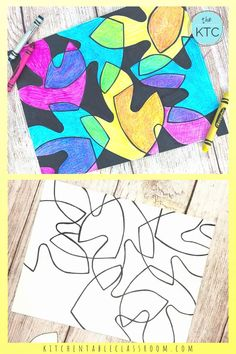 Color Mixing with Crayons- Positive and Negative Leaf Shapes
