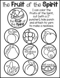 Use the fruit of the spirit necklace in your bible class with your preschool, pre-k or kindergarten students. Kids Church Lessons, Kids Sunday School Lessons, Sunday School Crafts For Kids, Sunday School Activities, Bible Lessons For Kids, Preschool Sunday School Lessons, School Fun, School Ideas, Bible Story Crafts