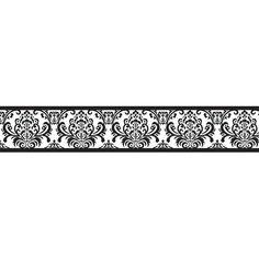 Fine Decor Damask Wallpaper Border Black/Silver 5mx17.5cm