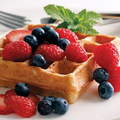 healthy waffles - great for breakfast in bed #mothersday from @EatingWell Magazine