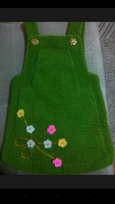 "HUZUR+SOKAĞI+(Yaşamaya+Değer+Hobiler) ""Nice knitted green dress with flowers for our little girls ."", ""Ravelry: Project Gallery for Junior pattern by DR Easy Knitting Patterns, Knitting For Kids, Baby Knitting, Crochet Baby, Knit Crochet, Knit Baby Dress, Knitted Baby Clothes, Knitted Hats, Baby Knits"
