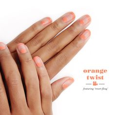 We're crushing on orange with this hot summer look. This deliciously flirty negative space mani will have you making lasting impressions all through the season. Recreate this nail art with essie nail polish. Start by prepping nails with 'first base' base coat. Next paint a half moon with 'resort fling' at the cuticle. Then create a french tip with 'resort fling' and top it off with a layer of 'good to go' top coat.