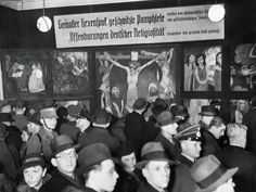 The opening of the 'Degenerate Art' exhibition in Berlin, 1938 (b/w photo)