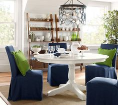 Emery Indoor/Outdoor Recycled Glass Chandelier | Pottery Barn - alternate view over table...