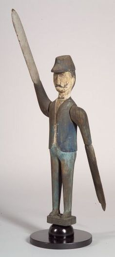 Carved and Painted Pine Soldier Whirligig