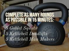 Kettlebell workout with goblet squats, kettlebell deadlifts and man makers by Kettlebell Kings.