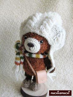 アラン帽子のクマちゃん|あみぐるみ|まちこまち|ハンドメイド通販・販売のCreema