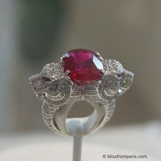 """Huge crush for this """" Tigre"""" ring by @boucheron set with a 12.41cts burman ruby and paved with diamonds on white gold."""