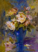 "Oil painting ""Roses & Blue"" 14""x11"" by artist Nora Kasten"