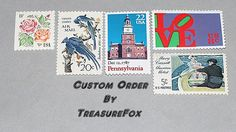 Reserved Custom Order for hatsilli .. Custom order of vintage postage stamps with a Philadelphia Pennsylvania, Liberty Bell and floral theme to be used for mailing wedding invitations. Sold on Etsy by TreasureFox