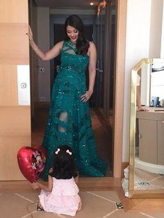 Aishwarya rai bachchan in a green Eli Saab gown at cannes 2015