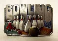 Vintage 1985 Bowling Belt Buckle Pins Ball by honeyblossomstudio