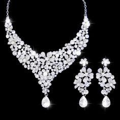 Vintage Style Swarovski Crystal Bridal Jewelry Set, Flower Statement Necklace, Silver Wedding Pierced Earring, Bridesmaid Jewelry-168453002