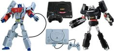 Optimus Prime And Megatron Figures Transform Into Playstation And Genesis Game Consoles