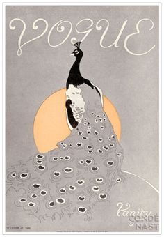 Vintage Vogue cover with monochromatic peacock illustration. Vogue Vintage, Vintage Vogue Covers, Art Vintage, Art Nouveau, Vogue Magazine Covers, Inspiration Art, Fashion Cover, Vintage Magazines, Fashion Magazines