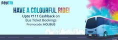 Paytm Holi Special offers : Upto Rs 111 Cashback All On Bus Ticket Bookings in india