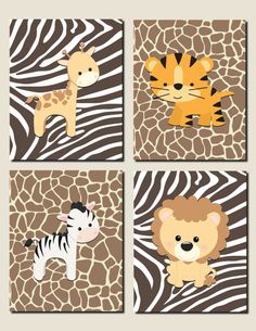 Jungle Animals Nursery Wall Art, Baby Girl Nursery Art, Baby Boy Nursery, Lion, Tiger, Giraffe, Kids Wall Art, Set of 4, Prints or Canvas