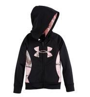 Under Armour Kids Girl's Black/Realtree Camo Big Logo Full Zip Hoodie, 27424510
