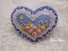 Blue felt  heart beaded  pin / brooch with pink roses by GlosterQueen on Etsy https://www.etsy.com/listing/213805396/blue-felt-heart-beaded-pin-brooch-with