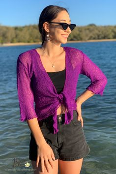 Sexy Summery Purple Ladies Sheer Shrugs. Super Lightweight Knit Cardigan. You can roll this up in your bag and pop on after the sun goes down. Throw over a summer dress, jeans or shorts.  #casual #fashion #luau #cruisewear #summer #beachcoverup #bolero #cruisewear #beachcardigan #cardigan #over-swim