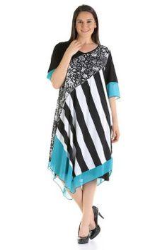 BÜYÜK BEDEN Siyah Beyaz Turkuaz Elbise 7329