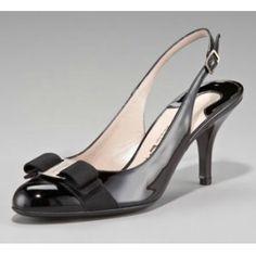b7b732412ad091 $185 Salvatore Ferragamo Flavia Bow-Toe Slingback Peep Toe Pumps, Beautiful  Shoes, Salvatore