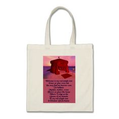 "Red Temple Tent Poetry Budget Tote Bag The ""Red Temple Tent"" is a compilation of original micropoetry and images that celebrate the sisterhood of women and their unique attributes, strengths, and collective experiences throughout the cycle of life. Poem reads: Welcome to my red temple tent / Enter at your own risk / You may find me heaven-sent / Or hellbent / Maiden, mother, crone / There's no place like home / Where I reign as the / Queen of my domain / In my red temple tent © Eleanor…"
