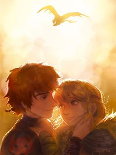 Hiccup and Astrid- I love how Toothless is in the background!