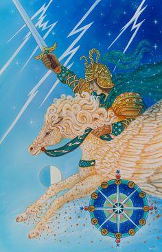 The Art of Cathy McClelland Knight of Swords (tarot)