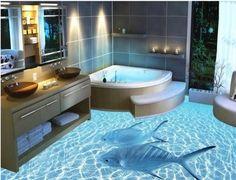 14 einzigartige 3D Badezimmerböden, die dich sprachlos machen - DIY Bastelideen