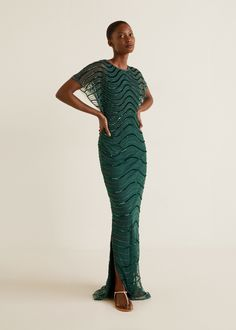 Sequined gown - Women | Mango United Kingdom