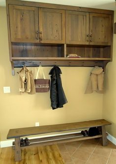 Coat Rack and shoe bench.  Great idea for the garage.