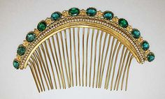 Hair comb, gold, green stones and pearls, 1880s