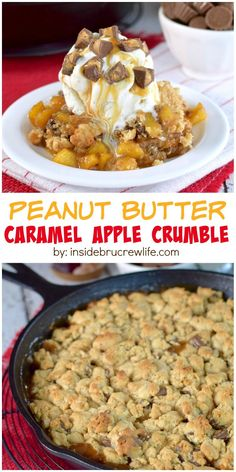 Peanut butter and caramel add a fun twist to this apple crumble dessert! Ice cream on top of the hot dessert is a must!!