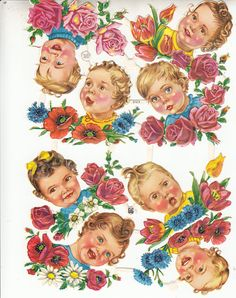 Vintage Toddlers Heads Roses Flowers Scrap Die-cut Sheet of 8 New, Old Stock Germany EAS 3123 Scrapbooks Ornaments Shower Crafts 1920-1940s